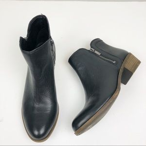LUCKY BRAND Breah Black Leather Bootie Double Zip